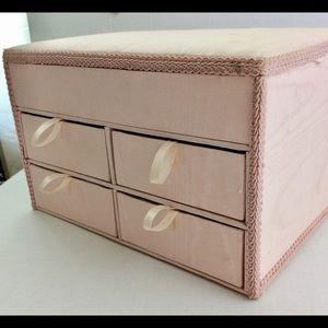 Vintage Handmade Pink Satin Jewelry Trinket Box TX